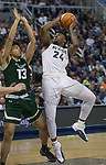 Nevada's Jordan Caroline shoots over Colorado State's Lorenzo Jenkins in the second half of an NCAA college basketball game in Reno, Nev., Sunday, Feb. 25, 2018. (AP Photo/Tom R. Smedes)