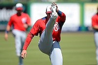 Washington Nationals infielder Steve Lombardozzi #1 during practice before a Spring Training game against the Philadelphia Phillies at Bright House Field on March 6, 2013 in Clearwater, Florida.  Philadelphia defeated Washington 6-3.  (Mike Janes/Four Seam Images)