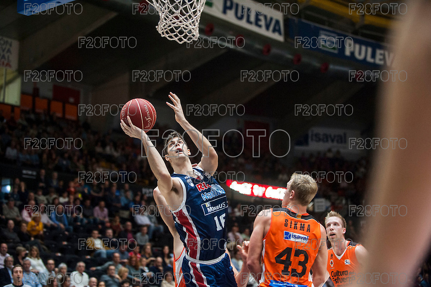 VALENCIA, SPAIN - OCTOBER 31: Sikma and Santiago Yusta during ENDESA LEAGUE match between Valencia Basket Club and Rio Natura Monbus Obradoiro at Fonteta Stadium on   October 31, 2015 in Valencia, Spain