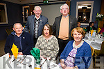 At the Kerry Supporters Club social on Saturday night in Ballygarry House Hotel were  from l-r J P Daly, Helena Wrenn, Mary Wrenn Back l-r Michael Allen and Jim Wrenn