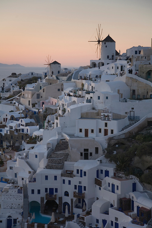 Sunset over Oia on the Island of Santorini, Greece