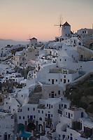 Sunset over Oia on the Island of Santorini, Greece