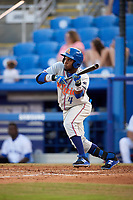 St. Lucie Mets center fielder John Mora (4) squares around to bunt during a game against the Dunedin Blue Jays on April 19, 2017 at Florida Auto Exchange Stadium in Dunedin, Florida.  Dunedin defeated St. Lucie 9-1.  (Mike Janes/Four Seam Images)