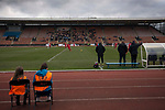 Two ballgirls sitting behind the home dugout during the first-half at Meadowbank. City were looking for points in their bid to avoid relegation in their first season in League 2 after promotion from the Lowland League in 2015-16. The match ended 1-1, Josh Walker scoring for City, with Montrose equalising in the last minute, watched by a crowd of 346.