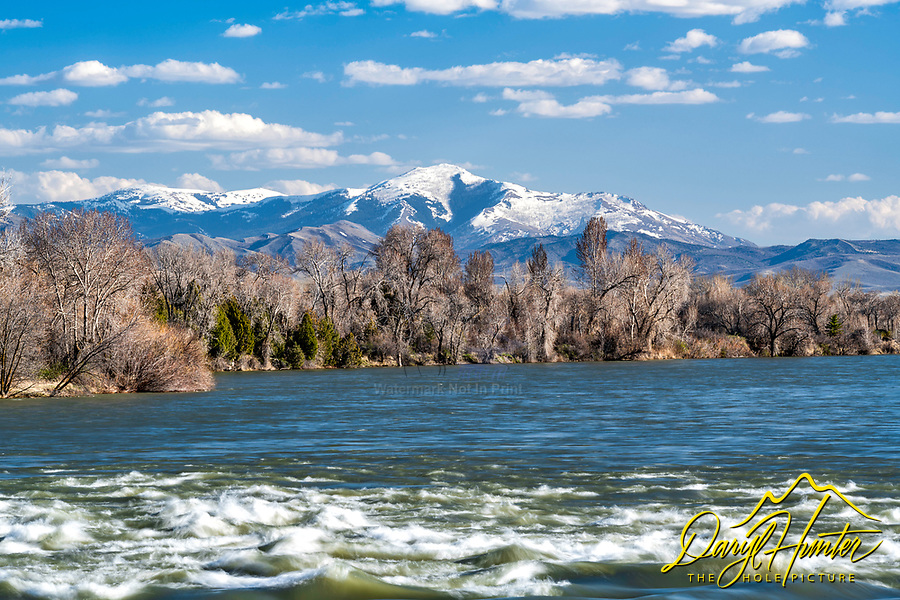 The Snake River and the Caribou Mountains where it flows though Blackfoot Idaho