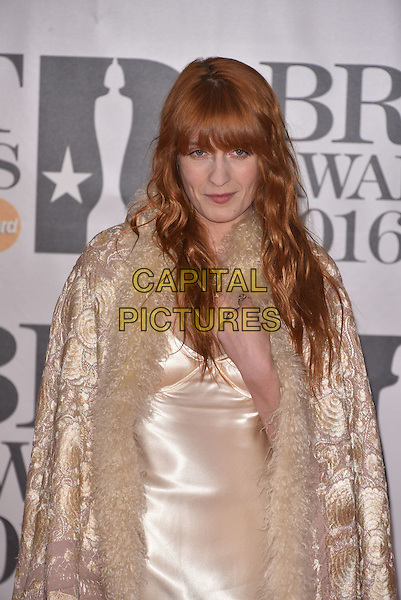 LONDON, ENGLAND - FEBRUARY 24: Florence Welch attends the BRIT Awards 2016 at The O2 Arena on February 24, 2016 in London, England<br /> CAP/PL<br /> &copy;Phil Loftus/Capital Pictures