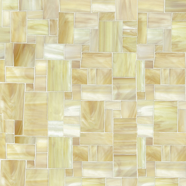 Block Party, a hand-cut jewel glass mosaic, shown in Agate.