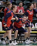 SPEARFISH, SD: DECEMBER 30:  Katie Jones and other players on the CSU Pueblo bench celebrate after a score against Black Hills State during their game Saturday evening at the Donald E. Young Center in Spearfish, S.D.   (Photo by Dick Carlson/Inertia