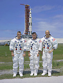 Kennedy Space Center, FL - May 30, 1969 -- The prime crew of the Apollo 10 lunar orbit mission is photographed while at the Kennedy Space Center, Florida for pre-flight training. Left to right are astronauts Eugene A. Cernan, Lunar Module pilot; John W. Young, Command Module pilot; and Thomas P. Stafford, Commander. .Credit: NASA via CNP