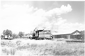 D&amp;RGW #268 light in the Gunnison yard. Three MOW cars are visible.<br /> D&amp;RGW  Gunnison, CO  Taken by Richardson, Robert W. - 7/3/1952