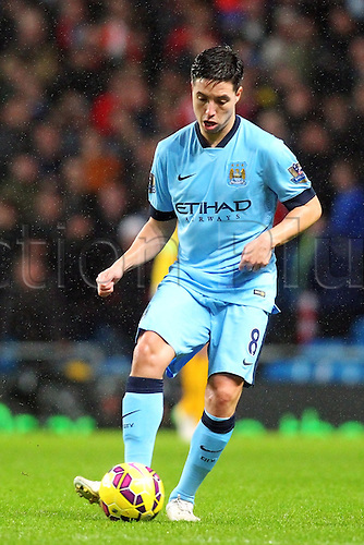 01.01.2015.  Manchester, England. Barclays Premier League. Manchester City versus Sunderland. Manchester City midfielder Samir Nasri in possession