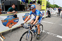 Tom Danielson of the Discovery Channel Pro Cycling Team rides away from the sign-in area before Stage 1 of the 2006 Ford Tour de Georgia pro cycling race. Danielson won last year's race. Lars Michaelsen of Team CSC won today's 129-mile stage from Augusta to Macon in 4:45:46.<br />