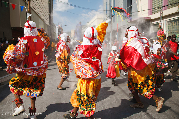Spice Island Pierrots throwing powder Junior  Traditional Mas parade,