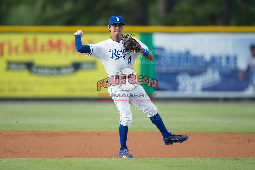 Burlington Royals shortstop Nicky Lopez (4) makes a throw to first base against the Bluefield Blue Jays at Burlington Athletic Stadium on June 28, 2016 in Burlington, North Carolina.  The Royals defeated the Blue Jays 4-0.  (Brian Westerholt/Four Seam Images)