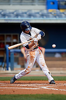 Charlotte Stone Crabs Tyler Frank (5) bats during a Florida State League game against the Palm Beach Cardinals on April 14, 2019 at Charlotte Sports Park in Port Charlotte, Florida.  Palm Beach defeated Charlotte 5-3.  (Mike Janes/Four Seam Images)