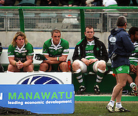 Manawatu's Sean O'Connor, Bertus Mulder and James Goode watch from the bench after being replaced in the second half during the Air NZ Cup rugby match between Manawatu Turbos and Counties-Manukau Steelers at FMG Stadium, Palmerston North, New Zealand on Sunday, 2 August 2009. Photo: Dave Lintott / lintottphoto.co.nz