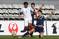 Reece James of England tries to skip past a challenge from Scotland's Kyle MaGennis during England Under-18 vs Scotland Under-20, Toulon Tournament Semi-Final Football at Stade Parsemain on 8th June 2017