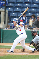 Spencer Navin (13) of the Rancho Cucamonga Quakes bats during a game against the Visalia Rawhide at LoanMart Field on May 6, 2015 in Rancho Cucamonga, California. Visalia defeated Rancho Cucamonga, 7-2. (Larry Goren/Four Seam Images)q2
