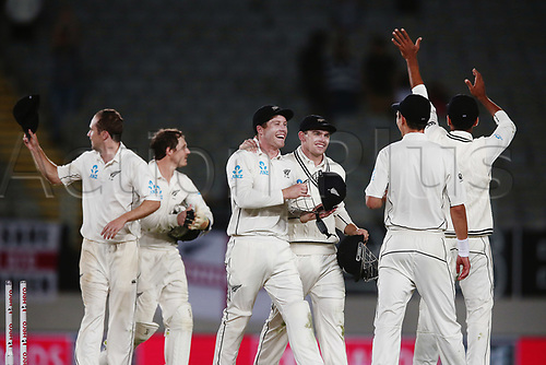 26th March 2018, Eden Park, Auckland, New Zealand; International Test Cricket, New Zealand versus England, day 5;  The Blackcaps celebrate victory