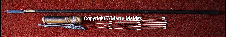 BNPS.co.uk (01202) 558833<br /> Picture: MartelMaides/BNPS<br /> <br /> ****Must use full byline****<br /> <br /> A Dayak blowpipe Sarawak pipe with rattan bound leaf form iron spear point, estimated to fetch £300.<br /> <br /> A British man who was gifted a set of cannibal forks used by tribesmen to eat rival warriors is selling the macabre collection.<br /> <br /> The elderly collector ingratiated himself with a local tribal community while on his travels to the Pacific islands 70 years ago.<br /> <br /> As a token of their hospitality, the natives gave the unnamed all manner of gifts dating back to the 19th century.<br /> <br /> They included three girsly wooden forks tribal chiefs would have used to devour the bodies of their enemies.