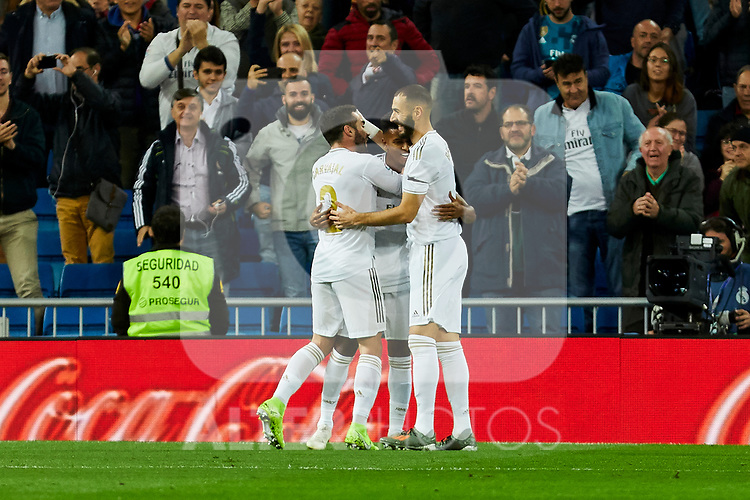 (L-R) Dani Carvajal, Rodrygo Goes and Karim Benzema of Real Madrid celebrate goal during La Liga match between Real Madrid and CD Leganes at Santiago Bernabeu Stadium in Madrid, Spain. October 30, 2019. (ALTERPHOTOS/A. Perez Meca)