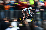 Romain Bardet (FRA) AG2R La Mondiale in action during Stage 1, a 14km individual time trial around Dusseldorf, of the 104th edition of the Tour de France 2017, Dusseldorf, Germany. 1st July 2017.<br /> Picture: ASO/Alex Broadway | Cyclefile<br /> <br /> <br /> All photos usage must carry mandatory copyright credit (&copy; Cyclefile | ASO/Alex Broadway)