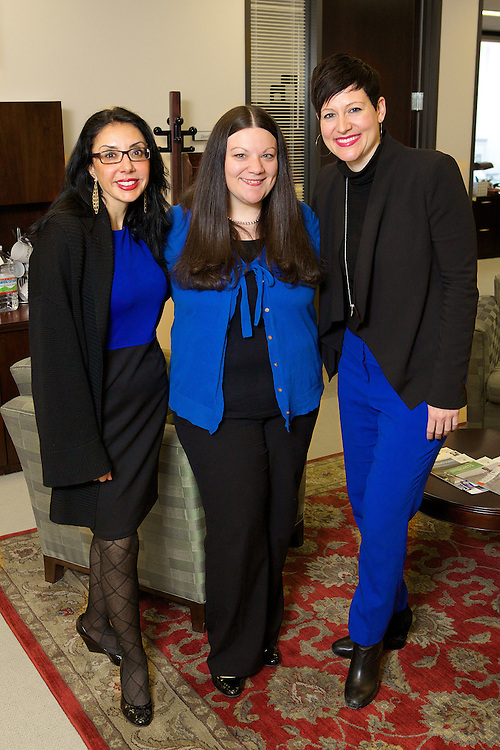 Bringing their blue during Blue Demon Week is staff from the Office of the General Council (L-R) Anastasia Katinas, Mary Devona and Laura Warren February 20, 2014.