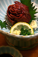 Sashimi often is the first course in a formal Japanese meal, but can also be the main course, presented with rice and Miso soup in separate bowls. Many Japanese people believe that sashimi, traditionally considered the finest dish in Japanese cuisine, should be eaten before other strong flavors affect the palate. Culinarily, sashimi represents the Japanese cultural appreciation of subtlety.