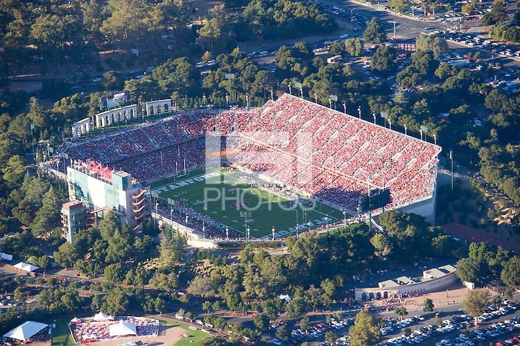 Stanford, CA October 9, 2010: Aerial view of Stanford Stadium during a sold out football game against USC.