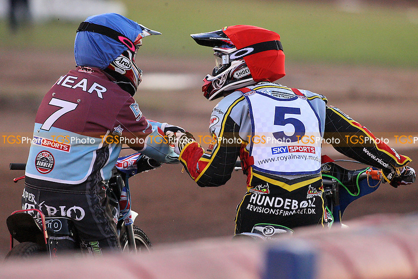 Heat 4: Nicolai Klindt (red) and Rob Mear (blue) celebrate a 5-1 - Lakeside Hammers vs Peterborough Panthers - Elite League Speedway at Arena Essex Raceway - 19/08/11 - MANDATORY CREDIT: Gavin Ellis/TGSPHOTO - Self billing applies where appropriate - 0845 094 6026 - contact@tgsphoto.co.uk - NO UNPAID USE.