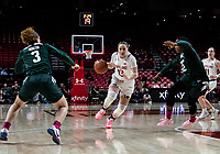 COLLEGE PARK, MD - FEBRUARY 03: Faith Masonius #13 of Maryland powers her way between Nia Hollie #12 and Alyza Winston #3 of Michigan State during a game between Michigan State and Maryland at Xfinity Center on February 03, 2020 in College Park, Maryland.