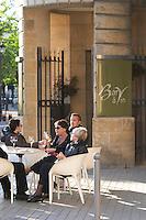 restaurant terrace people drinking wine civb le bar a vin allees tourny bordeaux france