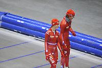 SCHAATSEN: HEERENVEEN: IJsstadion Thialf, 03-06-2013, training merkenteams op zomerijs, Janine Smit, Margot Boer, ©foto Martin de Jong