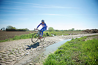 James Vanlandschoot (BEL/Wanty-GroupeGobert)<br /> <br /> 2014 Paris - Roubaix reconnaissance
