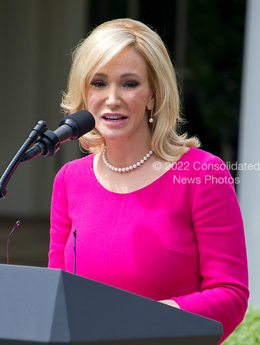 Pastor Paula White of Florida&rsquo;s New Destiny Christian Center introduces Pastor Jack Graham, Cardinal Donald Wuerl, the Archbishop of Washington, and Rabbi Marvin Hier, president Simon Wiesenthal Center prior to United States President Donald J. Trump signing a Proclamation designating May 4, 2017 as a National Day of Prayer and an Executive Order &quot;Promoting Free Speech and Religious Liberty&quot; in the Rose Garden of the White House in Washington, DC on Thursday, May 4, 2017.<br /> Credit: Ron Sachs / CNP