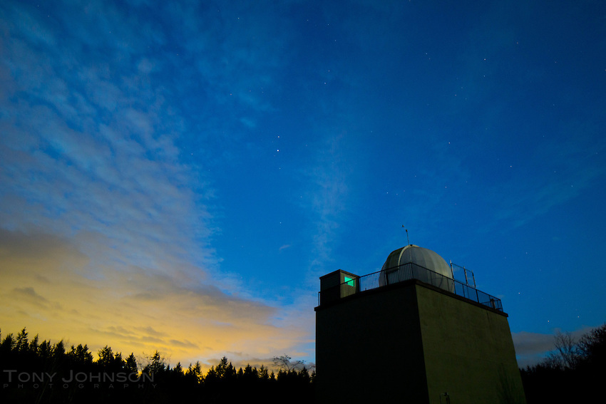 light pollution and stars fill the sky over the Battle Point Park observatory, Bainbridge Island