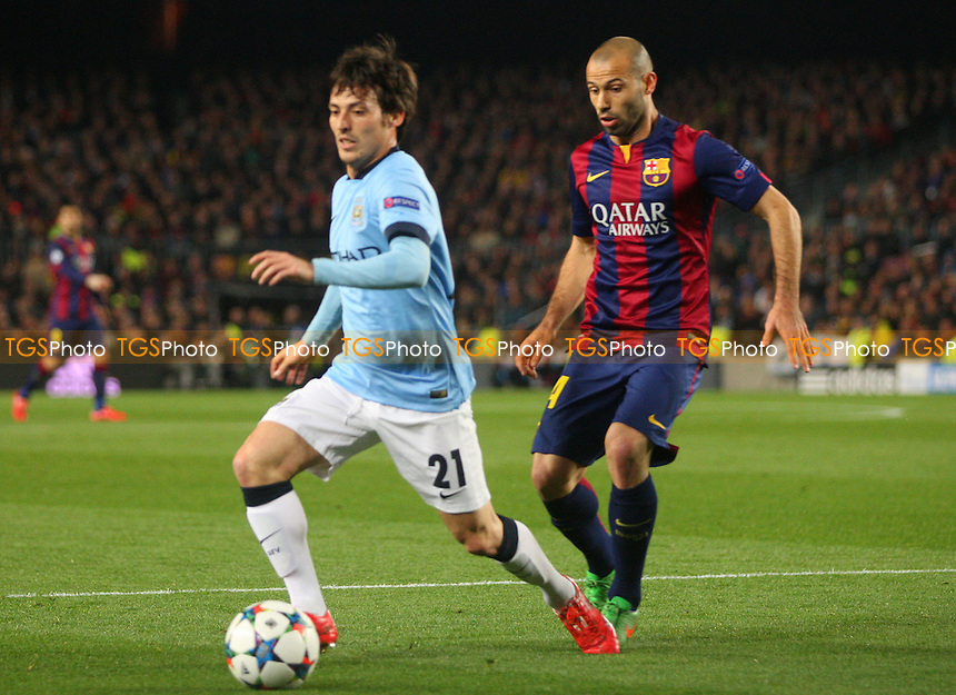 David Silva of Manchester City and Javier Mascherano of FC Barcelona - FC Barcelona vs Manchester City - European Champions League Round of Sixteen Football at the Camp Nou Stadium on  18/03/15 - MANDATORY CREDIT: Dave Simpson/TGSPHOTO - Self billing applies where appropriate - 0845 094 6026 - contact@tgsphoto.co.uk - NO UNPAID USE