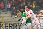 Barry John Keane, Kerry in action against   Tyrone in the fourth round of the National Football league at Fitzgerald Stadium, Killarney on Sunday.