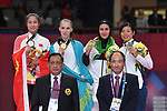 (L-R) Tang Lingling (CHN), Guzaliya Gafurova (KAZ), Pegah Zangenehkarkooti (IRI),  Kayo Someya (JPN), <br /> AUGUST 27, 2018 - Karate : Women's Kumite -68kg Victory ceremony at Jakarta Convention Center Plenary Hall during the 2018 Jakarta Palembang Asian Games in Jakarta, Indonesia. <br /> (Photo by MATSUO.K/AFLO SPORT)