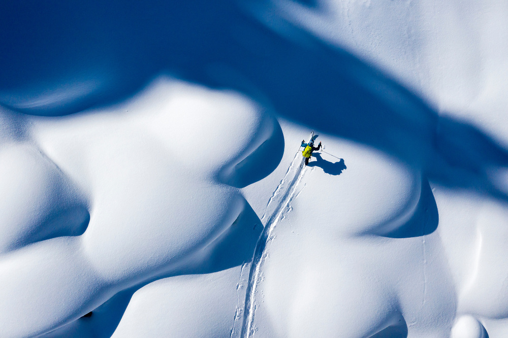 Josh Daiek skinning through powder pillows while filming near Lake Tahoe for Seven Stages of Blank.