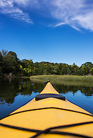 Kayak point of view of coastal waterway, Cape Cod, Massachusetts, USA