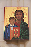 Israel, Lower Galilee, an icon at the Salesian Church of Jesus the Adolescent in Nazareth