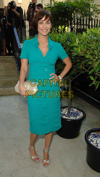 NATALIE IMBRUGLIA.Launch party for the Tara Smith Hair Products, Hemple Hotel, London, England, UK, .July 15th 2008.full length turquoise green dress collar ruched silver strappy sandals shoes clutch bag hand on hip .CAP/WIZ.© Wizard/Capital Pictures.