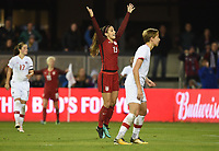 San Jose, CA - Sunday November 12, 2017: Alex Morgan celebrates during an International friendly match between the Women's National teams of the United States (USA) and Canada (CAN) at Avaya Stadium.