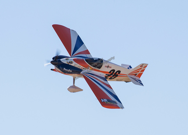 "Paul E. Newman from Gun Barrel City, TX pilots ""Fast and Easy"" (26) during the National Championship Air Races in  Reno, Nevada on Saturday, Sept. 14, 2019."
