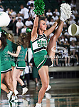A North Texas Mean Green cheerleader performs a routine during the NCAA Women's basketball game between the South Alabama Jaguars and the University of North Texas Mean Green at the North Texas Coliseum,the Super Pit, in Denton, Texas. South Alabama defeated UNT 79 to 61.