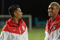 Couva, Trinidad & Tobago - Tuesday Oct. 10, 2017: Michael Orozco and Juan Agudelo  during a 2018 FIFA World Cup Qualifier between the men's national teams of the United States (USA) and Trinidad & Tobago (TRI) at Ato Boldon Stadium.