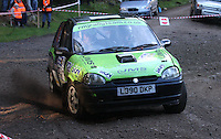 Ross MacDonald / Matthew Johnstone at Junction 6, on Special Stage 1 Craigvinean in the Colin McRae Forest Stages Rally 2012, Round 8 of the RAC MSA Scotish Rally Championship which was organised by Coltness Car Club and based in Aberfeldy on 5.10.12.
