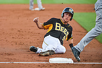 Alex Yarbrough (9) hustles and slides into third base against the Albuquerque Isotopes at Smith's Ballpark on June 27, 2015 in Salt Lake City, Utah.The Bees defeated the Isotopes 8-6.  (Stephen Smith/Four Seam Images)