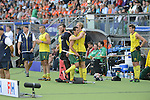 The Hague, Netherlands, June 15: Players of the Kookaburras of Australia celebrate after winning the field hockey gold match (Men) between Australia and The Netherlands on June 15, 2014 during the World Cup 2014 at Kyocera Stadium in The Hague, Netherlands. Final score 6-1 (2-1)  (Photo by Dirk Markgraf / www.265-images.com) *** Local caption ***